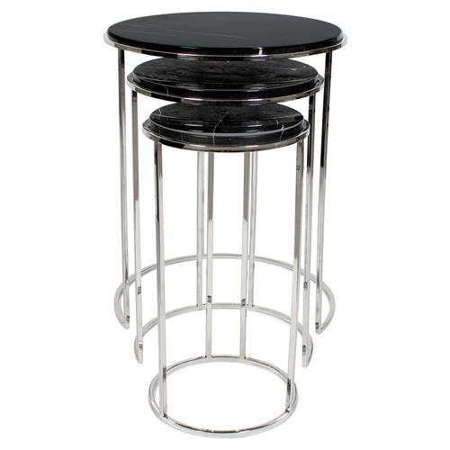 Eichholtz Millennium Modern Classic Black Marble Round Side End Table - Set of 3 | Kathy Kuo Home