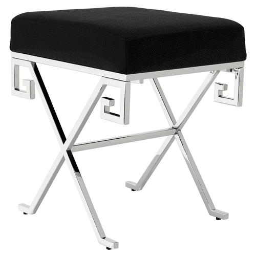 Paiva Modern Classic Polished Stainless Steel Panama Black Cushion Stool | Kathy Kuo Home