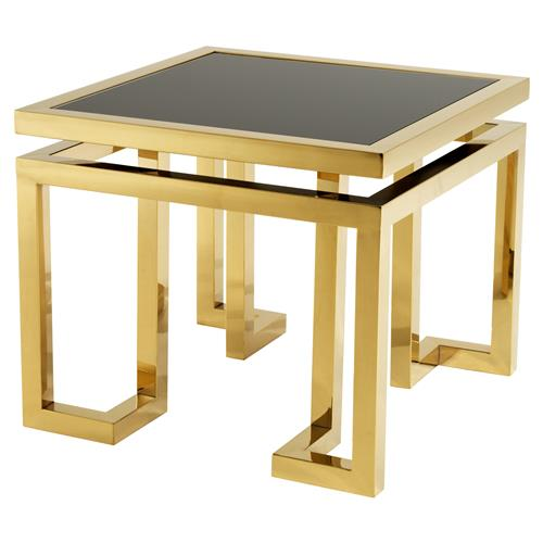 Eichholtz Palmer Hollywood Regency Gold Square Side End Table | Kathy Kuo Home