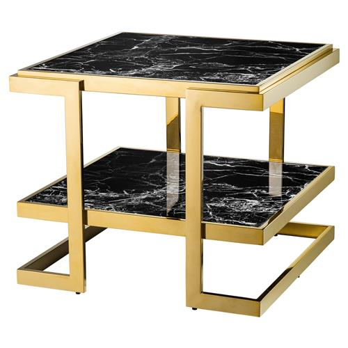 Eichholtz Senato Hollywood Regency Gold Black Marble Tiered Square Side End Table | Kathy Kuo Home