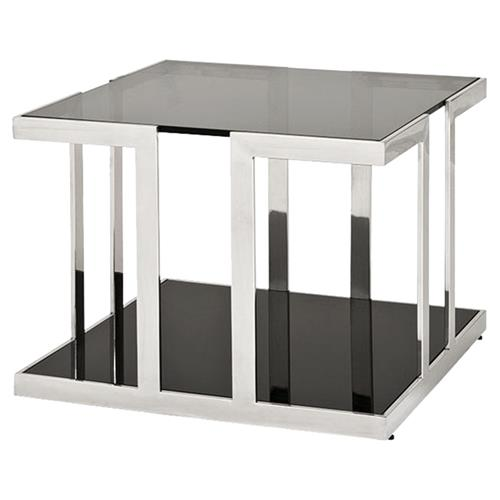 Eichholtz Treasure Modern Classic Polished Stainless Square Side End Table | Kathy Kuo Home