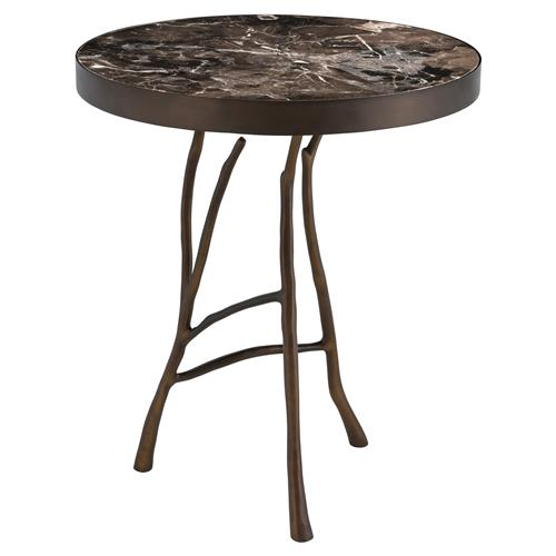 Eichholtz Veritas Industrial Loft Brown Marble Top Round Side End Table | Kathy Kuo Home
