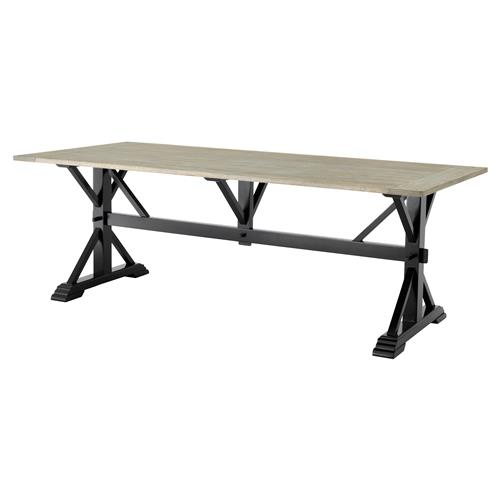 Eichholtz Royal French Country Rustic Oak Black Rectangular Trestle Dining Table | Kathy Kuo Home