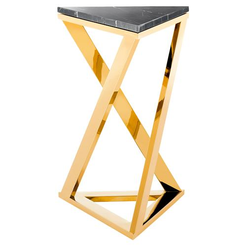 Eichholtz Galaxy Modern Classic Gold Black Marble Side Table | Kathy Kuo Home