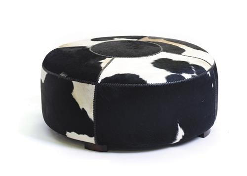 Large Modern Black And White Cowhide Round Coffee Table Ottoman Kathy Kuo Home