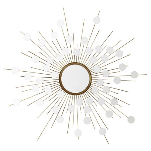 Eichholtz Reflections Modern Classic Antique Brass Starburst Wall Mirror | Kathy Kuo Home