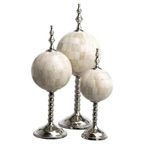 Leonardo Modern Classic Natural Bone Nickel Sculptures - Set of 3 | Kathy Kuo Home