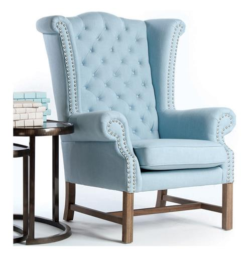 Brampton Sky Blue Cotton Tufted Lady's Wing Chair | Kathy Kuo Home