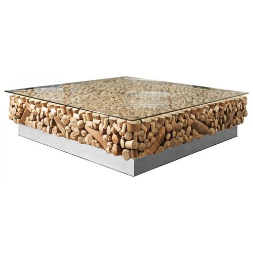 Faux Driftwood Coffee Table: Bradford Rustic Lodge Driftwood Glass Steel Base Coffee Table