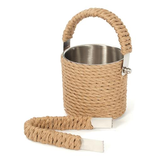 Nautical Beach Rope Covered Ice Bucket and Tong Set | Kathy Kuo Home