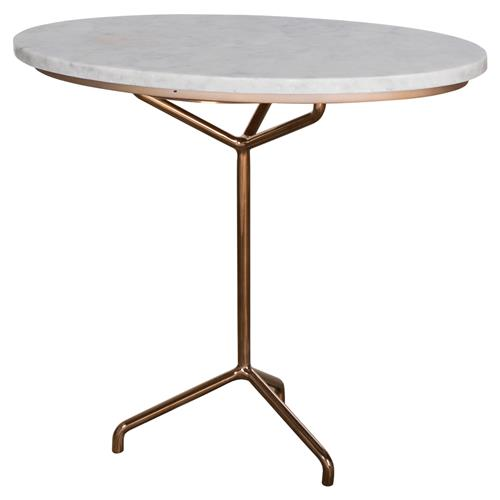 Kelly Hoppen Rose Modern Classic Rose Gold Oval Marble Top Side Table | Kathy Kuo Home