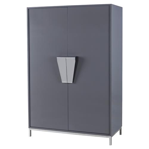 Kelly Hoppen Shield Modern Dark Grey Cabinet Stainless Steel Handles and Base | Kathy Kuo Home