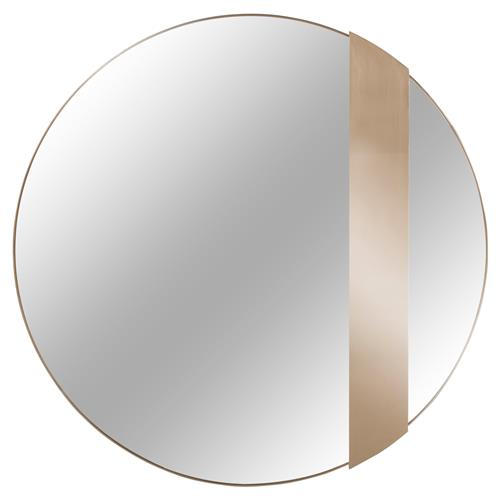 Kelly Hoppen Titian Modern Classic Rose Gold Trim and Band Round Mirror - 47D | Kathy Kuo Home