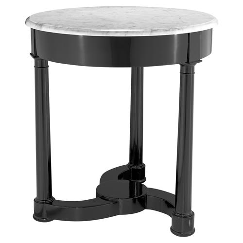 Eichholtz Bastide Modern Classic White Marble Black Mahogany Round Side Table | Kathy Kuo Home