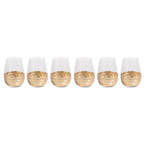 Helen Hollywood Regency Facetted Gold Leaf Stemless Wine Glasses - Set of 6 | Kathy Kuo Home