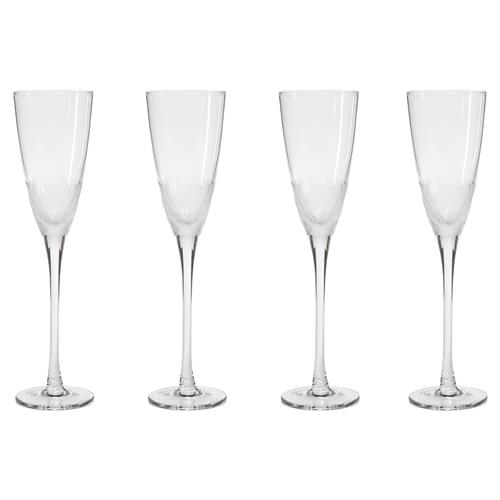 Helen Modern Classic Facetted Frosted Glass Champagne Flutes - Set of 4 | Kathy Kuo Home