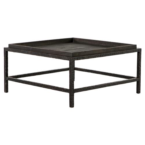 Rollins Industrial Loft Bronze Iron Coffee Table: Bonner Industrial Loft Dark Grey Wood Square Iron Bunching