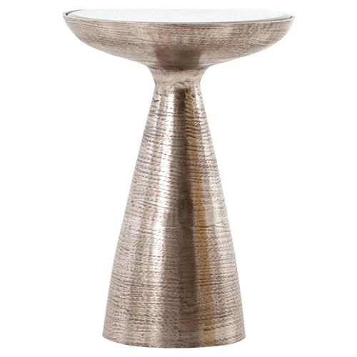 Lupe Global Bazaar Brushed Nickel Ash Glass Pedestal Side Table | Kathy Kuo Home