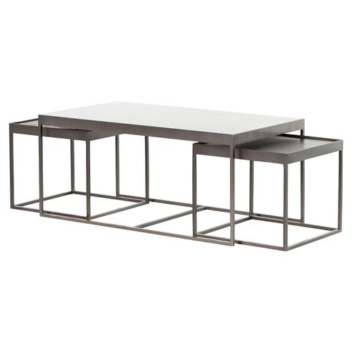 Black Coffee Table Nest: Nash Industrial Loft White Marble Iron Nesting Coffee Table