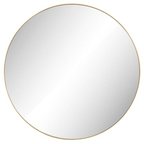 Ian Modern Classic Gold Stainless Steel Round Mirror - Large | Kathy Kuo Home
