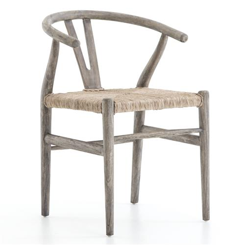 Breton Rustic Mid-Century Wicker Wishbone Grey Wood Dining Chair | Kathy Kuo Home