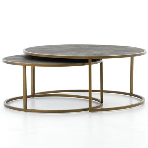 Massey Modern Regency Antique Brass Shagreen Round Nesting Round Coffee Table | Kathy Kuo Home