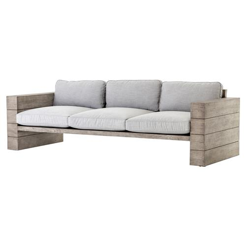 Gomer Modern Classic Grey Teak Frame Cushioned Wood Outdoor Sofa | Kathy Kuo Home