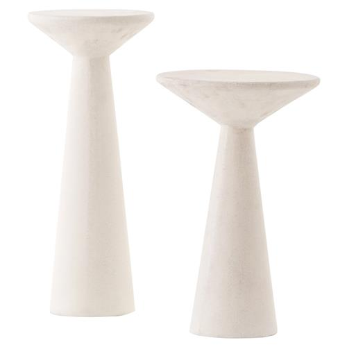 Mika Industrial Bazaar White Concrete Pedestal Accent Tables - Set of 2 | Kathy Kuo Home
