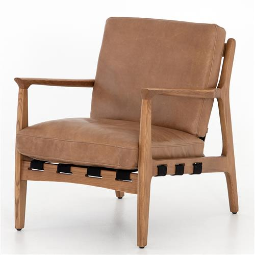 Bryna Rustic Lodge Tan Leather Cushioned Wood Arm Chair | Kathy Kuo Home