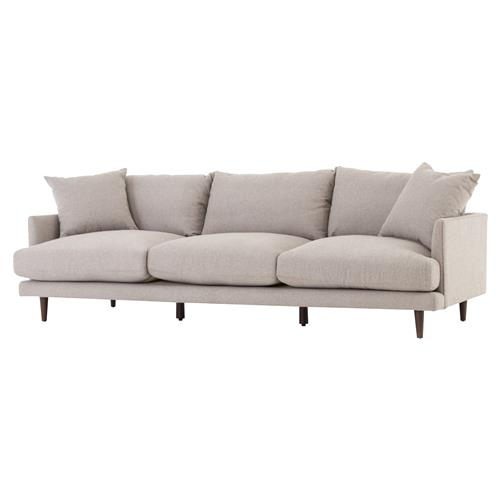 Brie Modern Classic Parawood Legs Beige Cushion Back Sofa | Kathy Kuo Home