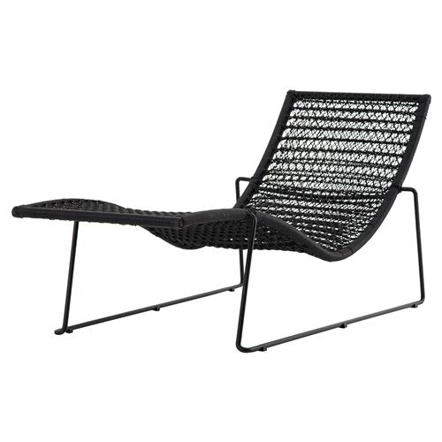 Craven Industrial Loft Black Woven Iron Outdoor Lounge Chair | Kathy Kuo Home