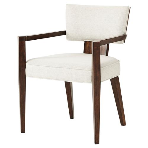 Theodore Alexander 55 Broadway Pacific Walnut Mahogany Dining Arm Chair | Kathy Kuo Home