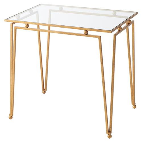 Theodore Alexander Ariel Gilt Steel Glass Top Rectangular Side End Table | Kathy Kuo Home