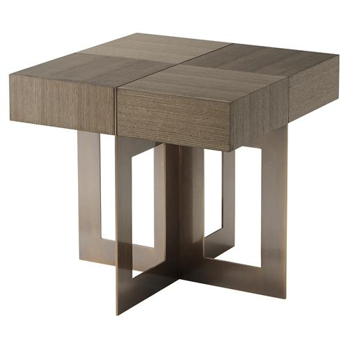 Theodore Alexander Bloc Pierced Brass Slab Legs Quartered Oak Side End Table | Kathy Kuo Home