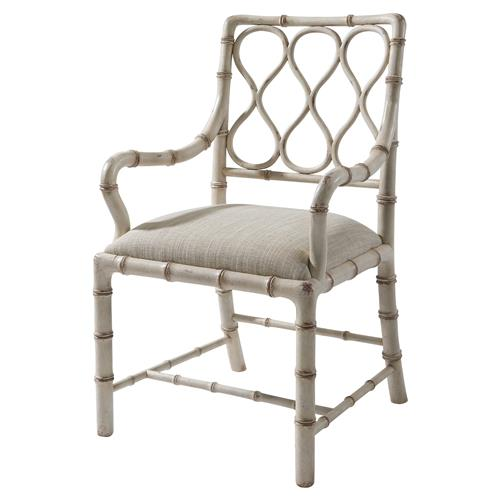 Claydon Global Bazaar Cream Hourglass Trellis Faux Bamboo Dining Arm Chair | Kathy Kuo Home