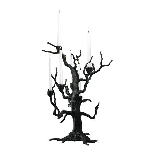 Rustic Carved Sculpted Iron Tree 6 Arm Candleholder | Kathy Kuo Home