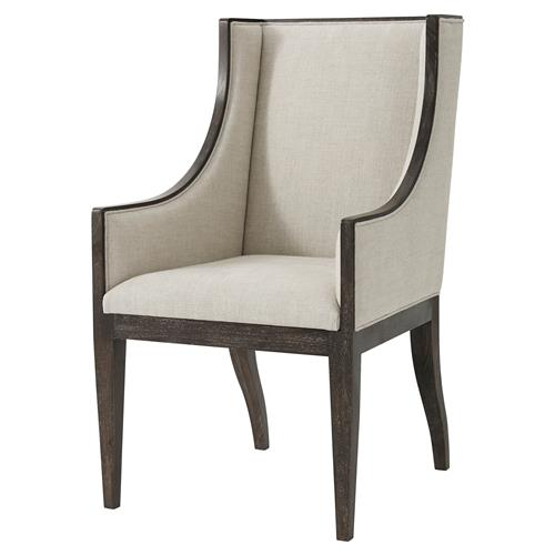 Theodore Alexander Englewood Oatmeal Linen Wingback Dining Armchair | Kathy Kuo Home