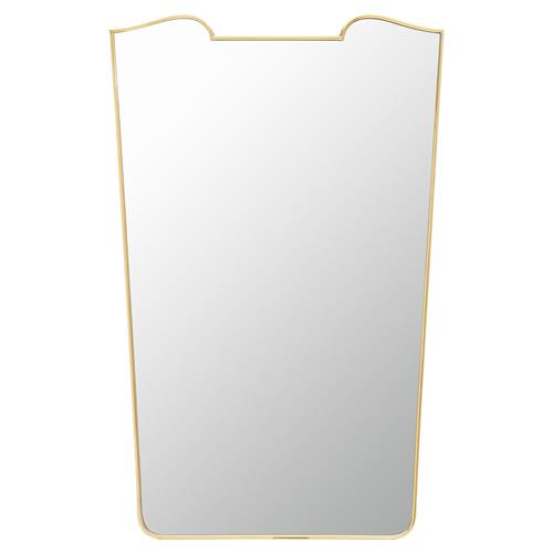 Hayes Hollywood Regency Warm Polished Brass Freeform Wall Mirror | Kathy Kuo Home