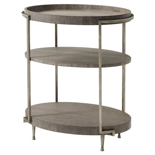 Theodore Alexander Hillsdale Classic Cerused Oak Oval 3 Tier Side End Table | Kathy Kuo Home