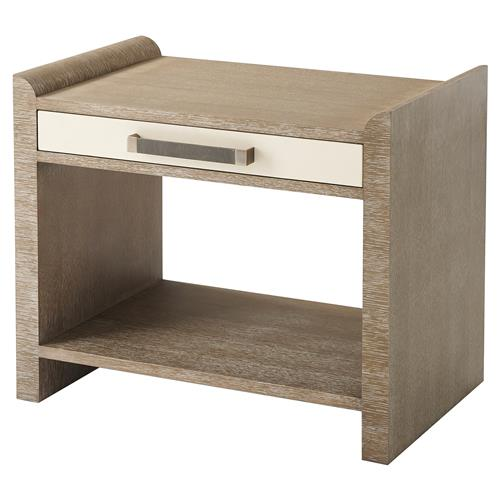 Theodore Alexander Irvington Grey Cerused Oak Rectangular Side End Table | Kathy Kuo Home