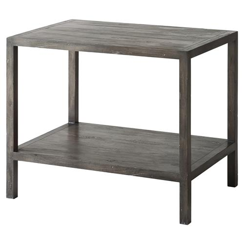 Theodore Alexander Jasper Antique Cocoa Rectangular Side End Table | Kathy Kuo Home