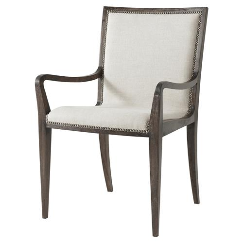 Theodore Alexander Martin Antique Steel Nailhead Oatmeal Linen Dining Arm Chair | Kathy Kuo Home