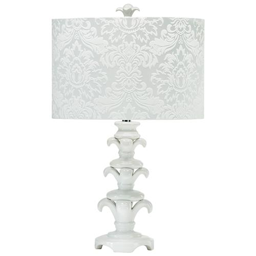 Cyra Contemporary Silver White Brocade Damask Elegant Table Lamp | Kathy Kuo Home