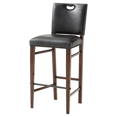 The Officer's Mess Industrial Pierced Handle Vintage Nailhead Leather Bar Stool | Kathy Kuo Home