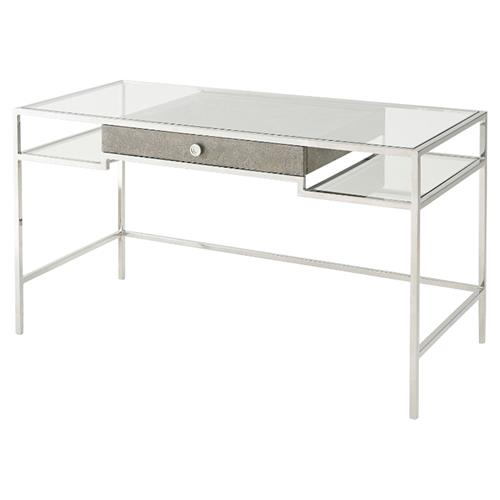 Tintagel Modern Classic Grey Blue Mottled Eggshell Tempered Glass Desk | Kathy Kuo Home