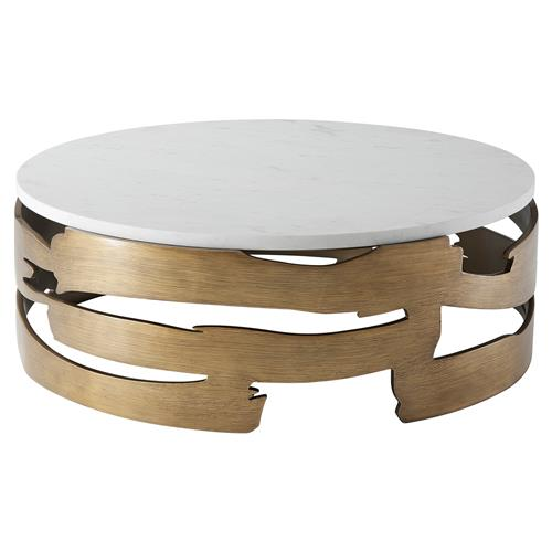 Coffee Table Bases For Marble Tops: Theodore Alexander Washi Base White Marble Top Round