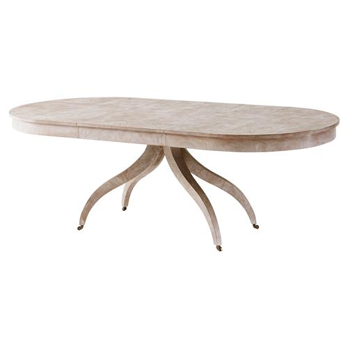 Theodore Alexander Newman Vintage Natural Mahogany Oval Dining Table | Kathy Kuo Home