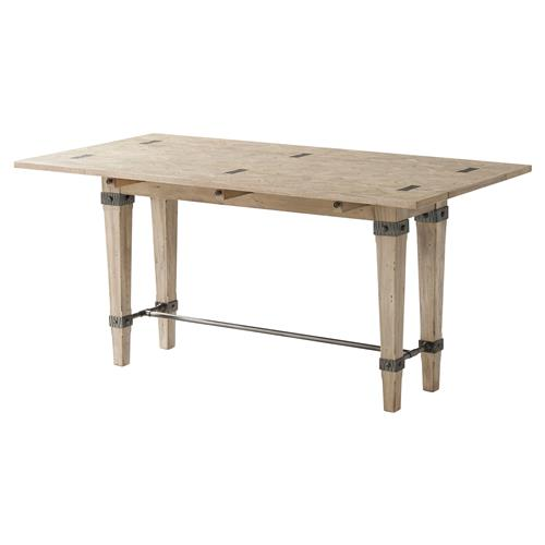 Theodore Alexander Weathered Purposes Collar Legs Antiqued Wood Console | Kathy Kuo Home