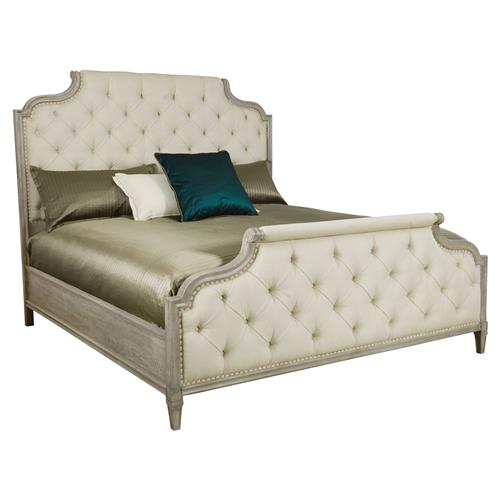 Michaela French Country White Button Tufted Upholstered Bed - Queen | Kathy Kuo Home