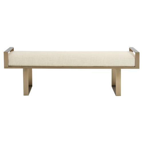 Portia Hollywood Regency Stainless Steel Gold Upholstered Bench | Kathy Kuo Home